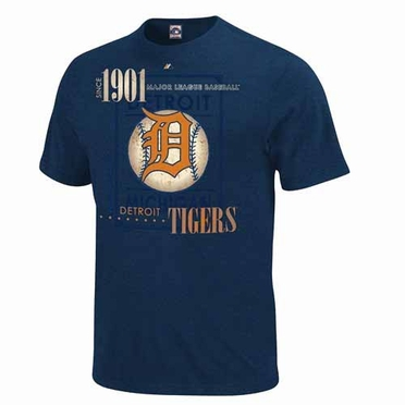 Detroit Tigers Cooperstown Drawing on Inspiration Heathered T-Shirt - Navy