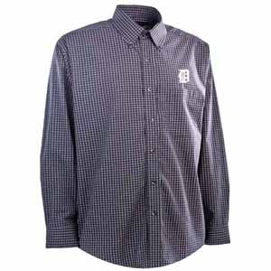 Detroit Tigers Mens Esteem Check Pattern Button Down Dress Shirt (Team Color: Navy) - X-Large