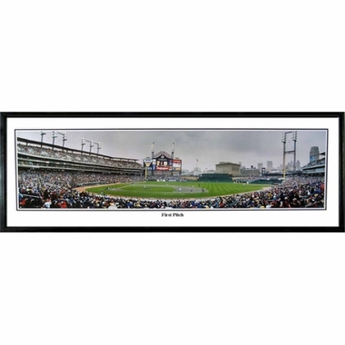Detroit Tigers First Pitch Framed Panoramic Print