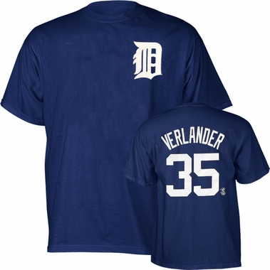 Detroit Tigers Justin Verlander Name and Number T-Shirt