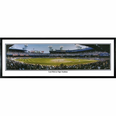 Detroit Tigers Last Pitch at Tiger Stadium Framed Panoramic Print