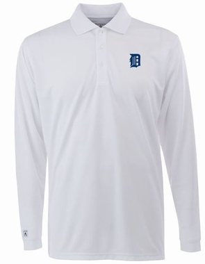 Detroit Tigers Mens Long Sleeve Polo Shirt (Color: White) - Small