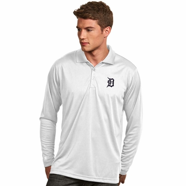 Detroit Tigers Mens Long Sleeve Polo Shirt (Color: White) - X-Large