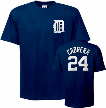 Detroit Tigers Miguel Cabrera Name and Number T-Shirt
