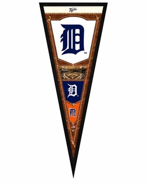 "Detroit Tigers Pennant Frame - 13""x33"" (No Glass)"