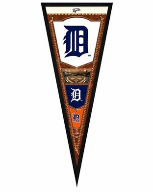 """Detroit Tigers Pennant Frame - 13""""x33"""" (No Glass)"""