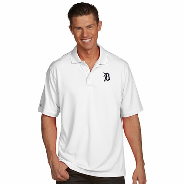 Detroit Tigers Mens Pique Xtra Lite Polo Shirt (Color: White)