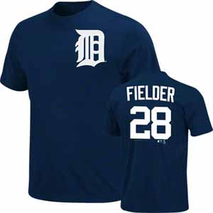 Detroit Tigers Prince Fielder Name and Number T-Shirt - Large