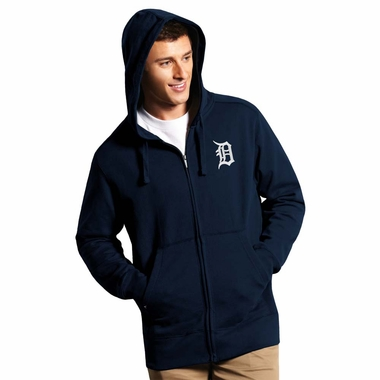 Detroit Tigers Mens Signature Full Zip Hooded Sweatshirt (Team Color: Navy) - Large