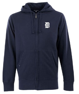 Detroit Tigers Mens Signature Full Zip Hooded Sweatshirt (Team Color: Navy) - X-Large