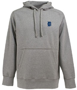 Detroit Tigers Mens Signature Hooded Sweatshirt (Color: Gray) - Large