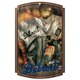 Detroit Tigers Throwback Wood Sign