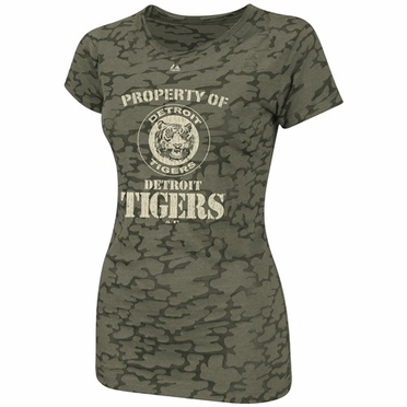 Detroit Tigers Womens Infantry Camo Fashion Top