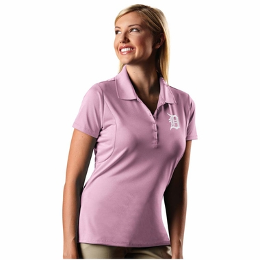 Detroit Tigers Womens Pique Xtra Lite Polo Shirt (Color: Pink) - Medium