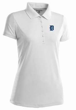 Detroit Tigers Womens Pique Xtra Lite Polo Shirt (Color: White)
