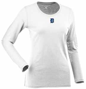 Detroit Tigers Womens Relax Long Sleeve Tee (Color: White) - Medium