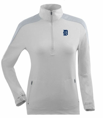 Detroit Tigers Womens Succeed 1/4 Zip Performance Pullover (Color: White)