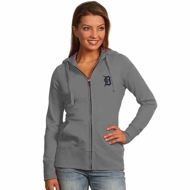 Detroit Tigers Womens Zip Front Hoody Sweatshirt (Color: Gray)