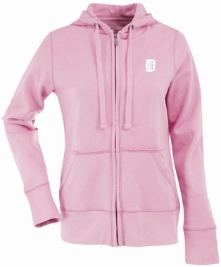 Detroit Tigers Womens Zip Front Hoody Sweatshirt (Color: Pink)