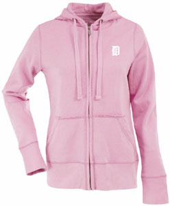 Detroit Tigers Womens Zip Front Hoody Sweatshirt (Color: Pink) - Large