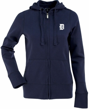 Detroit Tigers Womens Zip Front Hoody Sweatshirt (Team Color: Navy)