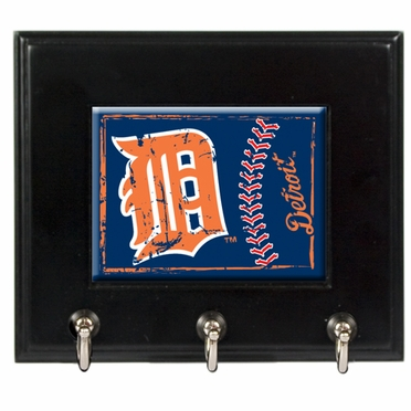 Detroit Tigers Wooden Keyhook Rack