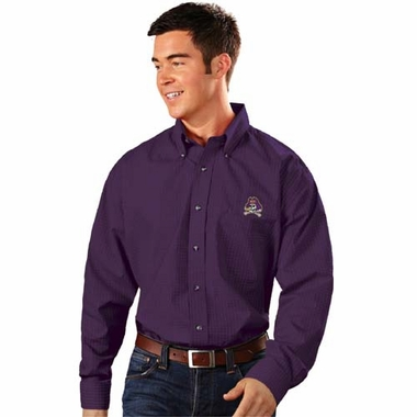 East Carolina Mens Esteem Check Pattern Button Down Dress Shirt (Team Color: Purple)