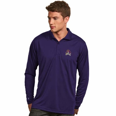 East Carolina Mens Long Sleeve Polo Shirt (Team Color: Purple)