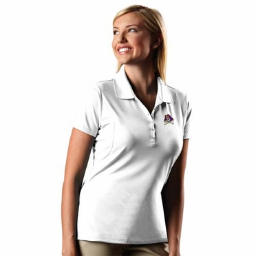 East Carolina Womens Pique Xtra Lite Polo Shirt (Color: White)