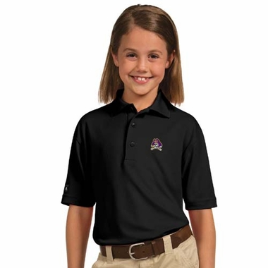 East Carolina YOUTH Unisex Pique Polo Shirt (Team Color: Black)