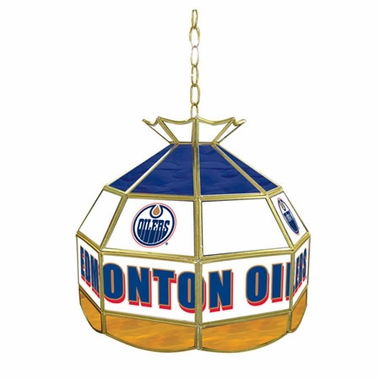 Edmonton Oilers 16 Inch Diameter Stained Glass Pub Light