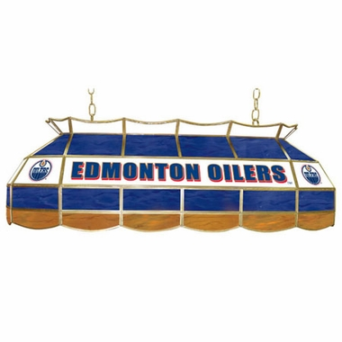 Edmonton Oilers 40 Inch Rectangular Stained Glass Billiard Light