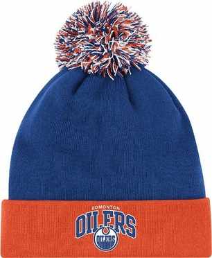 Edmonton Oilers Arched Logo Vintage Cuffed Pom Hat