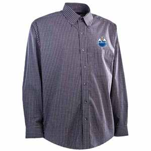 Edmonton Oilers Mens Esteem Check Pattern Button Down Dress Shirt (Team Color: Navy) - Large