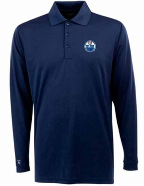 Edmonton Oilers Mens Long Sleeve Polo Shirt (Team Color: Navy)