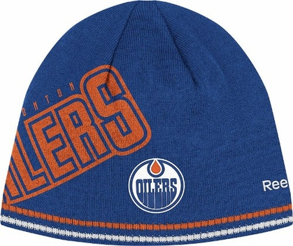 Edmonton Oilers Oversized Logo Reversible Cuffless Knit Player Hat