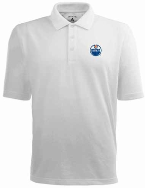 Edmonton Oilers Mens Pique Xtra Lite Polo Shirt (Color: White)