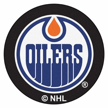 Edmonton Oilers Puck Shaped Rug
