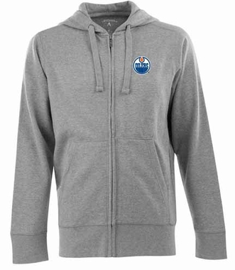 Edmonton Oilers Mens Signature Full Zip Hooded Sweatshirt (Color: Gray)