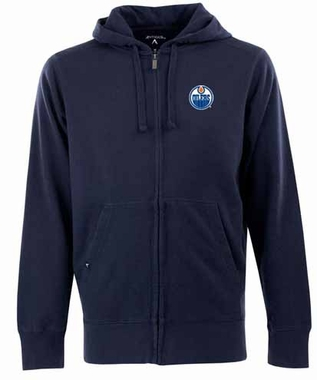 Edmonton Oilers Mens Signature Full Zip Hooded Sweatshirt (Team Color: Navy)