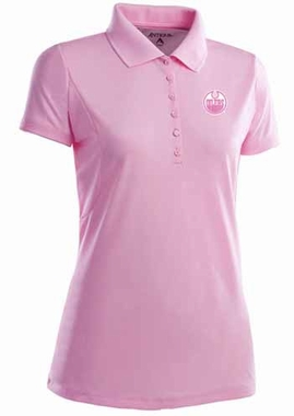 Edmonton Oilers Womens Pique Xtra Lite Polo Shirt (Color: Pink)
