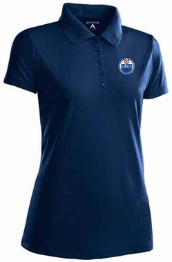 Edmonton Oilers Womens Pique Xtra Lite Polo Shirt (Team Color: Navy)