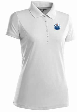 Edmonton Oilers Womens Pique Xtra Lite Polo Shirt (Color: White)