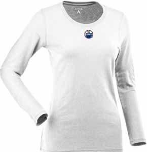 Edmonton Oilers Womens Relax Long Sleeve Tee (Color: White) - Large