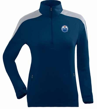 Edmonton Oilers Womens Succeed 1/4 Zip Performance Pullover (Team Color: Navy)