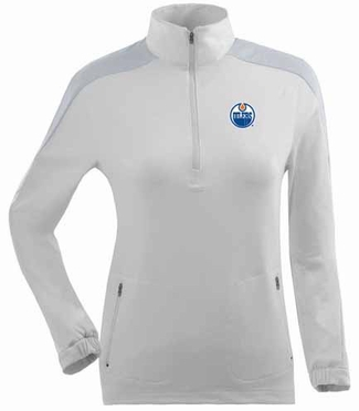 Edmonton Oilers Womens Succeed 1/4 Zip Performance Pullover (Color: White)