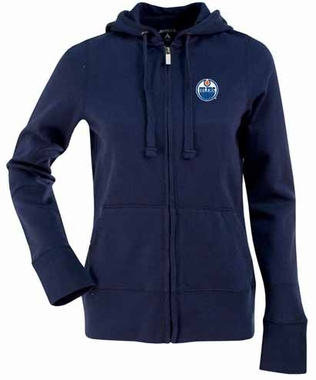 Edmonton Oilers Womens Zip Front Hoody Sweatshirt (Color: Navy)