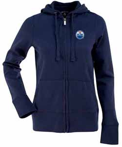 Edmonton Oilers Womens Zip Front Hoody Sweatshirt (Team Color: Navy) - Large
