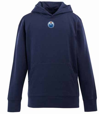 Edmonton Oilers YOUTH Boys Signature Hooded Sweatshirt (Team Color: Navy)