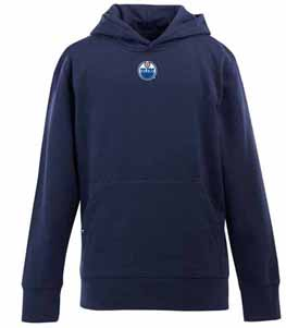 Edmonton Oilers YOUTH Boys Signature Hooded Sweatshirt (Team Color: Navy) - Large